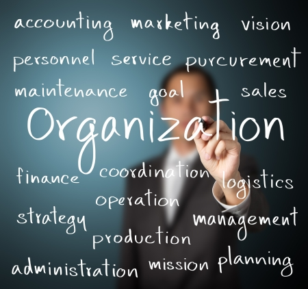 組織概念を書くビジネス男 写真素材