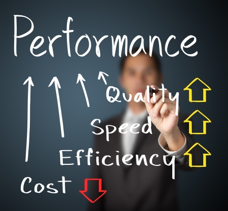 zakenman schrijven prestaties begrip kwaliteit verhogen snelheid efficiency en kosten te verlagen Stockfoto
