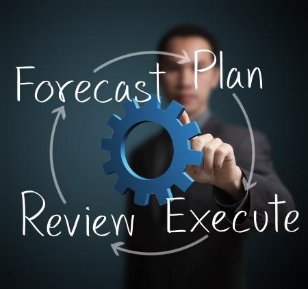 ビジネスの男性ビジネス改善サークルの図を指して 写真素材