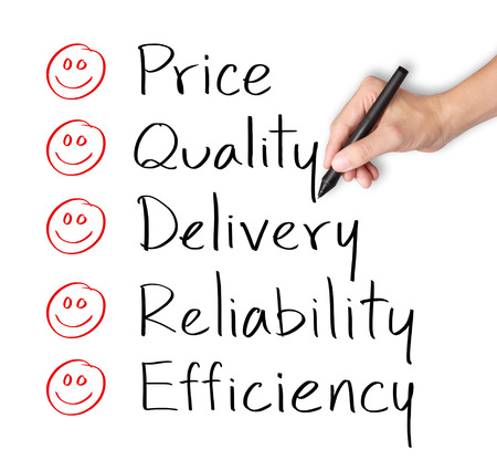 satisfy: customer hand evaluate happy on price quality delivery reliability and efficiency