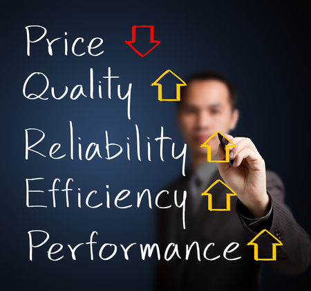 business man writing decreased price compare with increased quality, reliability, efficiency, performance photo