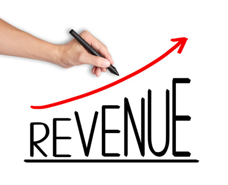 business hand writing revenue growth graph Stock Photo - 24952349