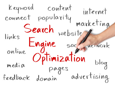 business hand writing search engine optimization    SEO   concept photo