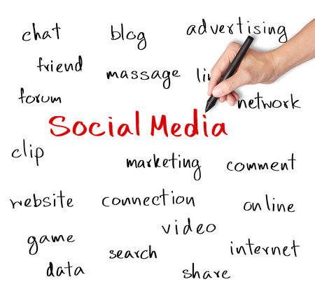 business hand writing social media concept Stock Photo - 24952358