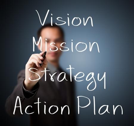ビジネスマンのビジネス コンセプト ビジョン - ミッション - 目的 - 戦略 - アクション プランを書く