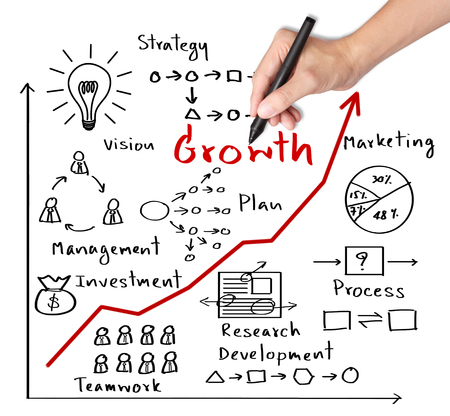 business hand writing growth graph photo