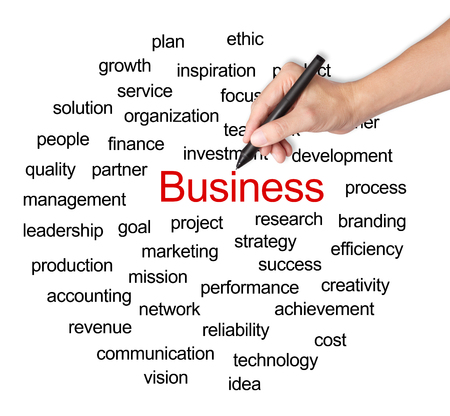 business hand writing business management concept photo