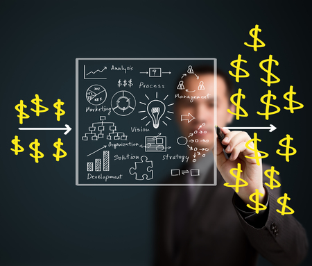 business man writing concept of business process make profit photo