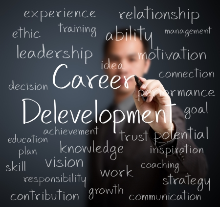 supervise: business man writing career development concept Stock Photo