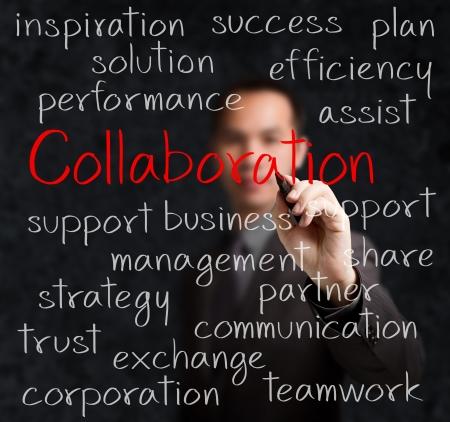 コラボレーションの概念を書くビジネス男