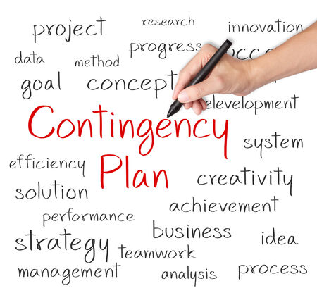 contingency: business hand writing contingency plan concept