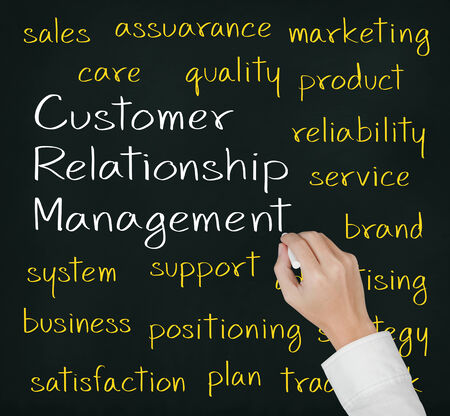 business hand  writing customer relationship management  CRM  concept Stock Photo - 25072839