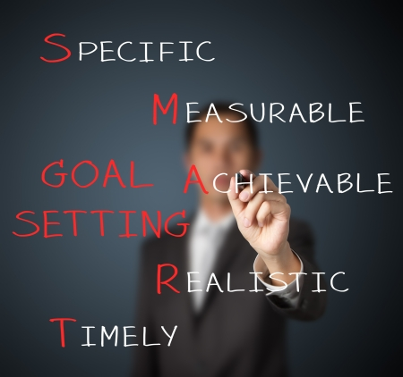 business man writing smart goal or objective setting concept photo