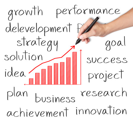 financial performance: business hand writing growth graph with business related text Stock Photo