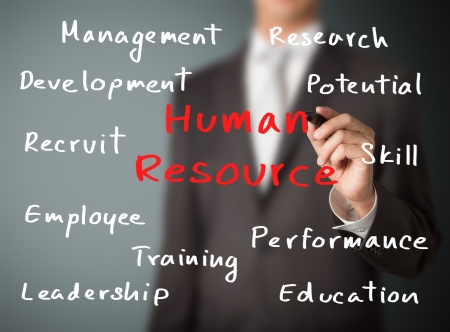 choose person: business man writing human resource concept Stock Photo