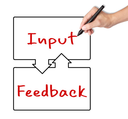 input: business hand writing input and feedback exchange concept Stock Photo