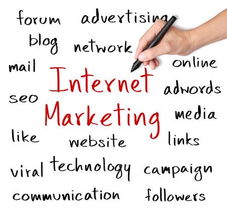 viral marketing: business hand writing internet marketing concept