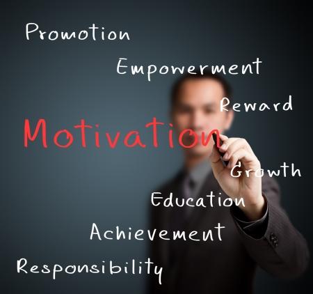 business man writing person or employee motivation concept Standard-Bild