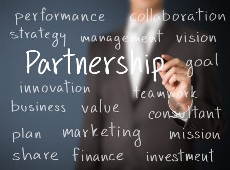 homme d'affaires écrit notion de partenariat
