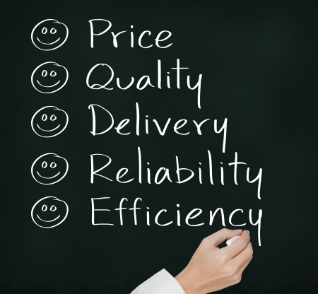 reliability: customer hand writing  happy on  price quality delivery reliability and efficiency Stock Photo