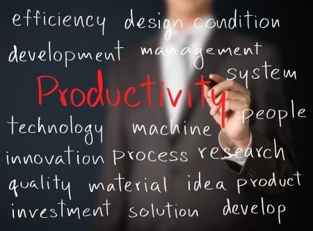 productividad: hombre de negocios por escrito productividad concepto