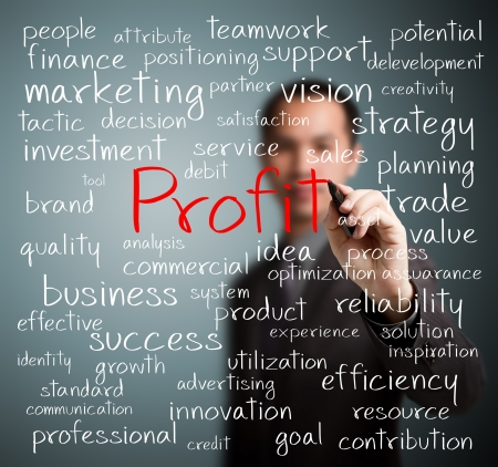 Geschäftsmann schriftlich Gewinn Konzept