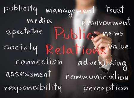 relations publiques: homme d'affaires �crit concept de relations publiques
