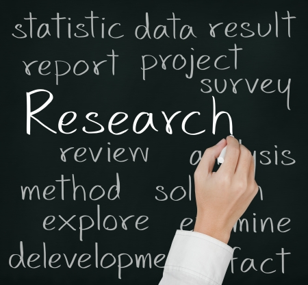 business hand  writing research concept Stock Photo
