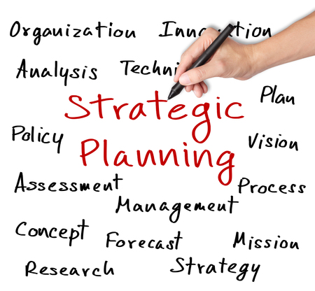 business hand writing strategic planning concept photo