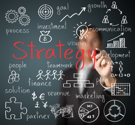 business strategy: business man writing business strategy concept