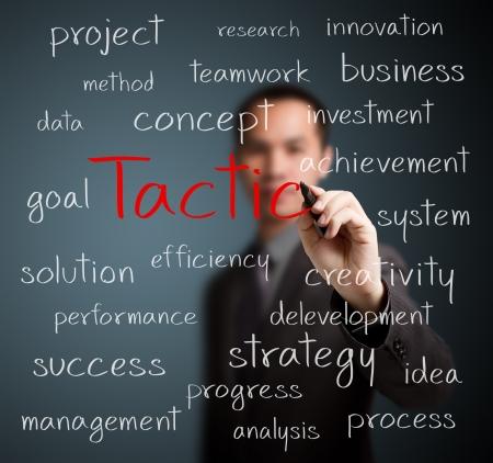 tactic: business man writing tactic concept