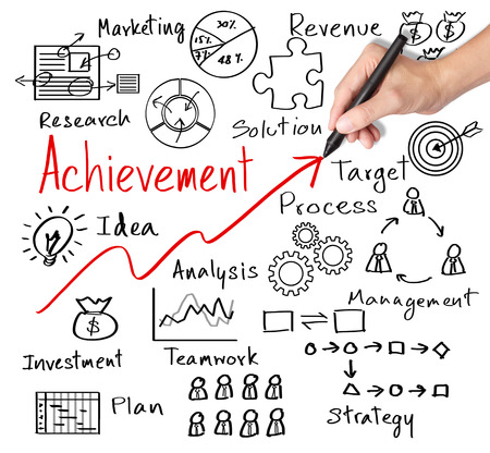 business hand writing business achievement by many  process photo