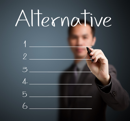 business man writing blank alternative list photo