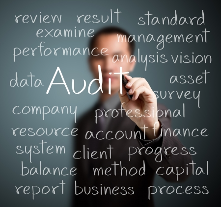 financial audit: business man writing audit concept