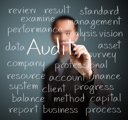 concepto de auditoría hombre de negocios por escrito