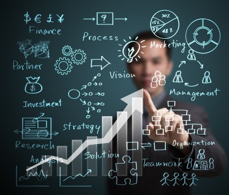 innovating: business man pointing at success graph with business process