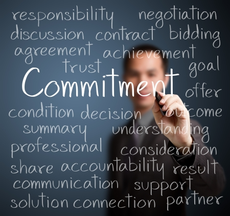 business man writing commitment concept Stock Photo