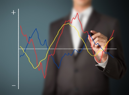 business man writing compared fluctuate graph