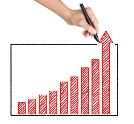 business hand writing over achievement bar chart Stock Photo - 25168571