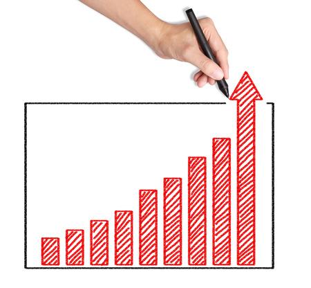 business hand writing over achievement bar chart Stock Photo - 25168571