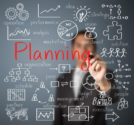 organigrama: planificación Hombre de negocios por escrito concepto Foto de archivo