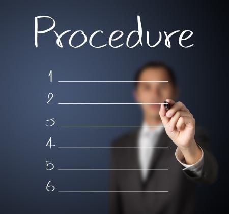 business man writing blank procedure list