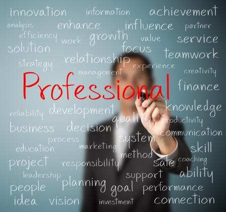 perito: hombre de negocios por escrito concepto de profesional