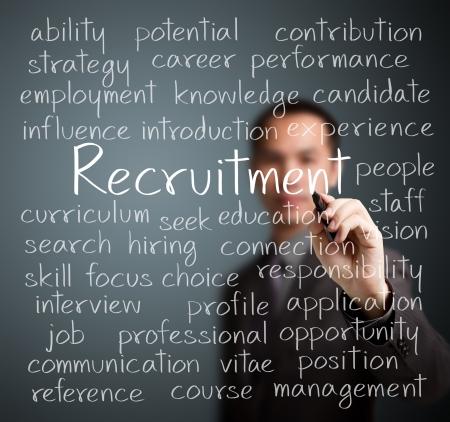 business man writing recruitment concept Standard-Bild