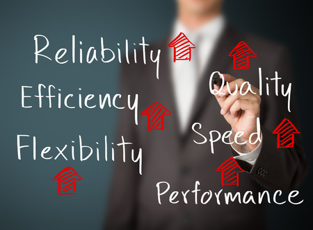 quality: business man writing rising reliability, quality, efficiency, flexibility, performance and speed