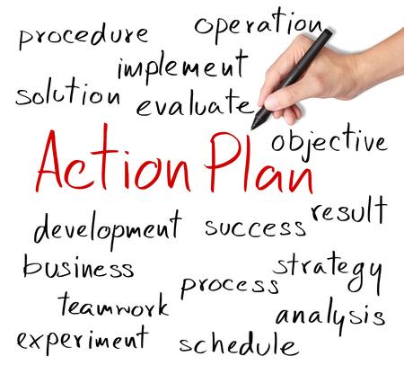 plan de accion: concepto de plan de acci�n de escritura de la mano de negocios