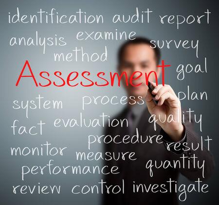 evaluacion: hombre de negocios por escrito concepto de evaluación