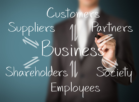 business man writing exchange and relation of business Stock Photo - 25168639