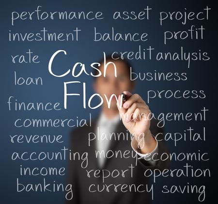 flujo de dinero: hombre de negocios por escrito concepto de flujo de efectivo