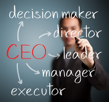 homme d'affaires écrit devoir de chef de la direction et la responsabilité